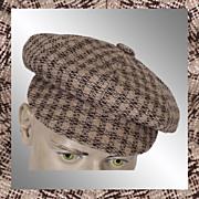 Vintage 70s Tweed Newsboy Cap // 1970s Hat Brown Beige White Mens Size Small