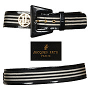 Vintage 90s Jacques Fath Black & White Leather Belt // Early 1990s Made in France Ladies Size