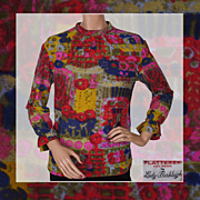Vintage 60s Abstract Impressionist Print Blouse // 1960s Knit Top Flatterer by Lady Berkleigh