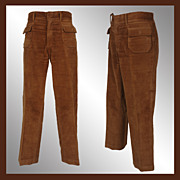 "Vintage 60s Mod Mens Pants // 1966 Brown Cotton Velour Trousers Mens Size M 35"" Waist"