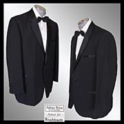 Vintage 60s After Six Rudofker Mens Tux Jacket // early 1960s Black Mohair Tuxedo Dinner Jacket Size L 46