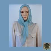 Vintage 1960s Blue Silk Chiffon Scarf