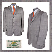 1950s Mens Fashion Grey Blazer Silk Jacket Size Medium