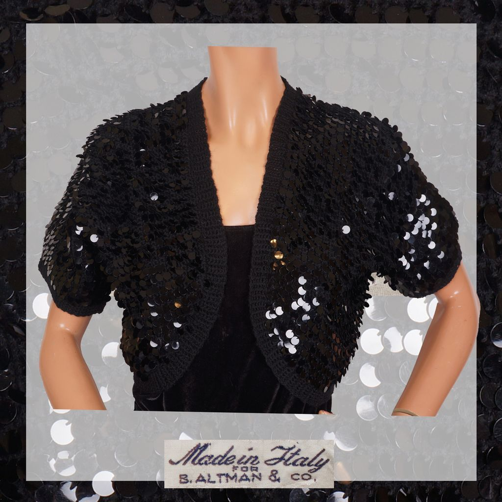Vintage 50s Black Sequin Wool Knit Bolero - Bernard Altman - M