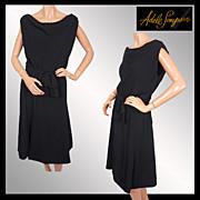 Vintage 50s Adele Simpson LBD Cocktail Dress Ladies Size M / L