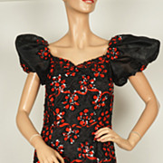 Vintage 1980s Red & Black Lace Dress Prom