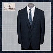 1960s Mens Vintage Jacket Checked Cashmere Size M / L Blazer Sportcoat