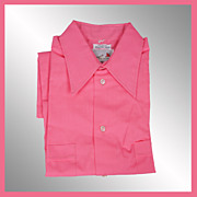1970s Shocking Pink Shirt Casual Short Sleeved Permanent Mens Size M Vintage