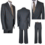 1976 Plaid Disco Era Mens Suit Wool Size M 40 Tall Vintage 1970s