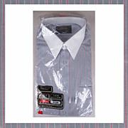1970s St Michael Unused Mens Striped Dress Shirt NOS Long Sleeve Size L 16