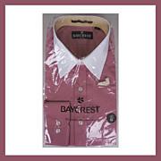 1970s Unused Raspberry Dress Shirt NOS Baycrest Long Sleeve Mens Size L 16