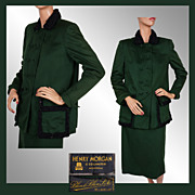 1940s Womens Suit French Blin & Blin Green Wool  Henry Morgan  Ladies Size M Vintage