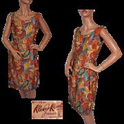 1950s Paisley Print Cotton Dress Klever Klad Junior Toronto Ladies Size M Vintage