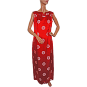 1960s Malia Honolulu Dress Red Full Length Gown M
