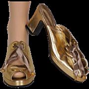 1980s Christian Dior Gold Leather Platform Sandals