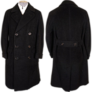 Vintage 1930s Mens Wool Overcoat of Alpacuna Size 40  R Excellent