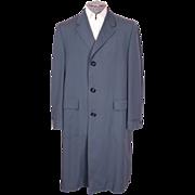 Vintage 1950s Mens Blue Gabardine Coat Spring / Fall Overcoat Size L 44