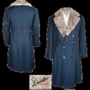 Vintage 1940s Mens Overcoat Gabardine Winter Coat M / L