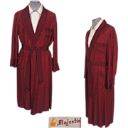 Vintage 50s Maroon Mens Dressing Gown Lounging Robe Majestic M