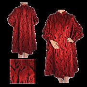 Vintage 50s Red Silk Brocatelle Evening Coat with Black Velvet Pattern Size M / L