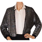 Vintage 50s Iridescent Blue Sequin Sweater - M