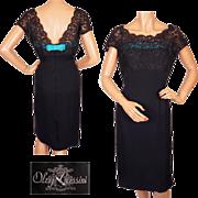 Vintage 1960s Oleg Cassini Navy Blue Lace & Silk Cocktail Dress  S / M