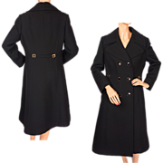 Vintage 70s Black Gabardine Wool Coat - Miliatary Style Ladies - M
