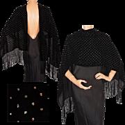 Vintage 1950s Black Velvet Stole with Applied Sparkle Sequins Fringed Scarf