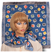 Vintage 50s Liberty of London Tumbling Color Blocks Silk Twill Scarf Square Neckerchief