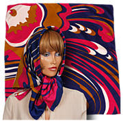Vintage 60s Mod Pierre Cardin Paris Silk Twill Scarf Bright Pink Wild Print