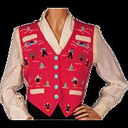 Vintage Ski Sweater Vest Hand Knit & Embroidered 1940s Ladies Size M