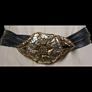 1980s Mixed Metal Belt Buckle and Belt