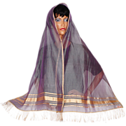 Vintage Silk Shawl Made in India Two Tone Lilac Lavender with Gold Trim