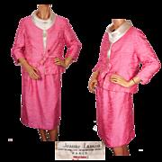 Vintage Jeanne Lanvin Paris Pink Silk Suit Couture by Maria Carine 1960s 3 Piece Ensemble Size