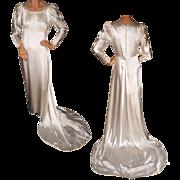 Vintage Satin Wedding Gown with Train 1930s Juliette Style - M