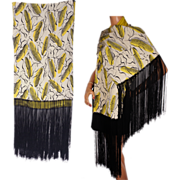 Art Deco Surrealist Corn Cob Printed Silk & Wool Flannel Shawl 1930s