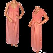 Vintage 1970s Nightgown & Peignoir Set Pink Nylon  - Claire Haddad - M