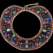Vintage Marvella NYC Rhinestone Bib Necklace Vintage 1950s Dramatic & Spectacular Costume Jewelry