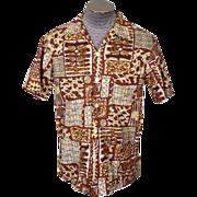 Vintage Jantzen Mens Shirt 1950s Abstract Tiki Print Size M