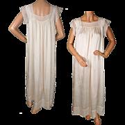Antique Nightgown Silk and Lace Edwardian Era Nightie