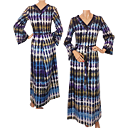 Vintage 60s Tie Dye Hippie Dress Size S M