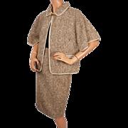 Vintage 60s Ladies Tweed Cape Jacket Suit Saks Fifth Avenue Size S M