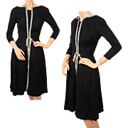 Vintage 1950s Casual Dress Black Wool Size XS