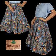 Vintage Novelty Print 1950s Cotton Circle Skirt Kitchen Decor Pattern Size M