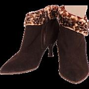 Vintage High Heel Ankle Boots Brown Suede Faux Leopard Booties Ladies 5.5 / 6