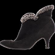 Vintage 60s High Heel Ankle Boots Black Suede Leather Booties Ladies 5.5 / 6