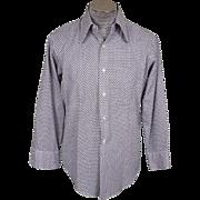 Vintage 60s Mens Cotton Shirt Octothorpe Hashtag Pound Number Sign Tic Tac Toe Pattern