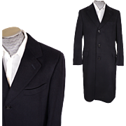 Vintage 1970s Mens Coat 100% Cashmere Chesterfield Topcoat Size M