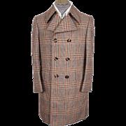 Vintage 70s Mod Mens Coat Military Style Glen Plaid Wool Tweed Size M