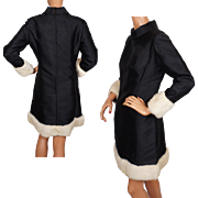 Vintage 60s Lillie Rubin Black Silk Cocktail Dress w White Mink Trim Size L
